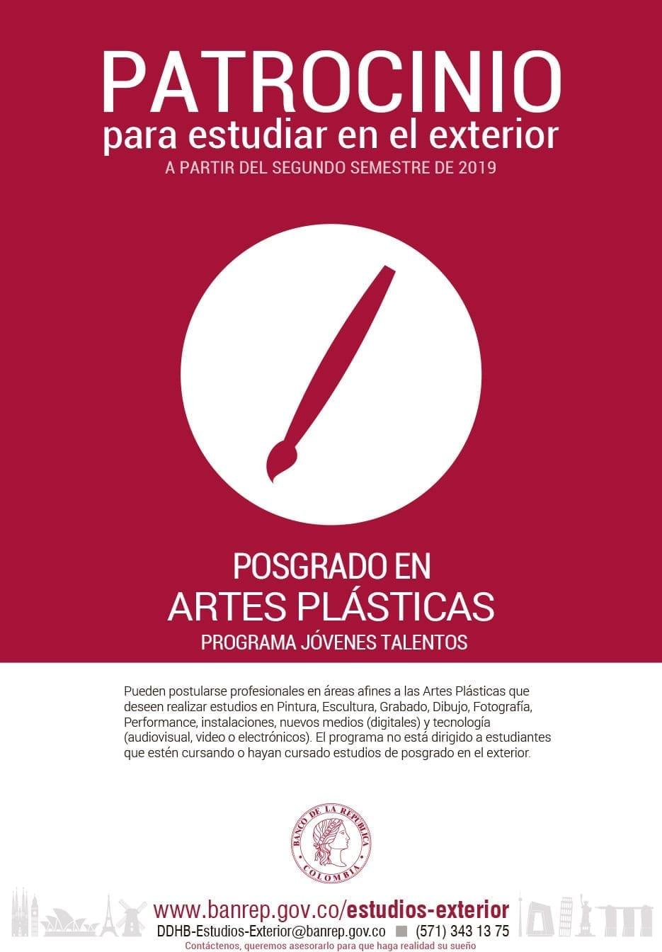 Patrocinio del Banco de la República para estudiar en el exterior posgrado en Artes Plásticas