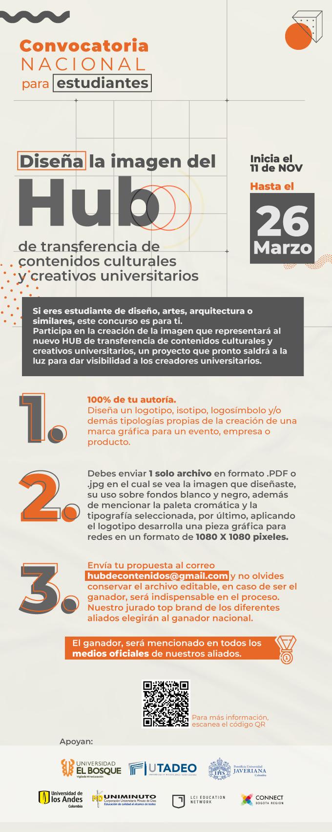 Convocatoria nacional paraestudiantes | Diseña la imagen del Hub de transferencia de contenidosculturales y creativos universitarios